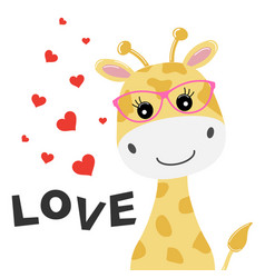 greeting card cute baby giraffe vector image