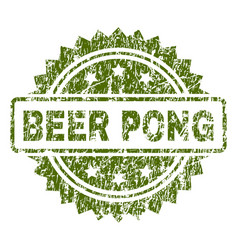 Grunge textured beer pong stamp seal vector
