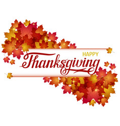 hand drawn happy thanksgiving lettering banner vector image