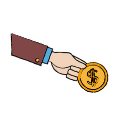 Hand holding coin dollar money banking vector