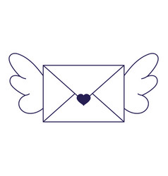 Happy valentines day envelope mail with wings vector