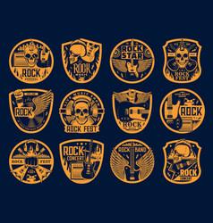 hard rock music icons skull and guitar set vector image