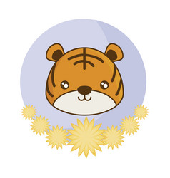 Head cute tiger in frame with flowers vector