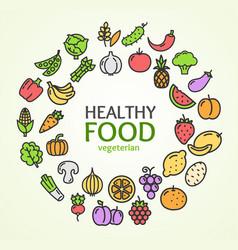 Healthy foods eco shop color round design template vector