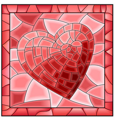 Heart stained glass window with frame vector