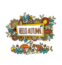 Hello Autumn Hand Drawn Doodle Bright vector