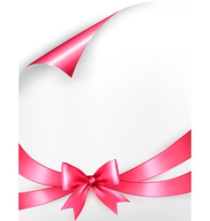 Holiday background with pink gift bow and ribbons vector image