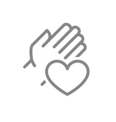 Human hand with heart line icon charity donation vector