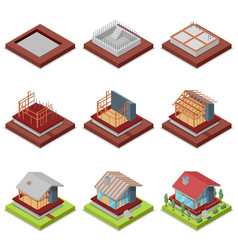 Isometric 3d set construction stages of house vector