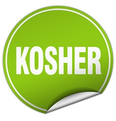 Kosher round green sticker isolated on white vector