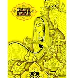 Lady burning diya on happy Diwali Holiday doodle vector