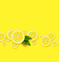Lemon yellow background sliced lemons pieces with vector