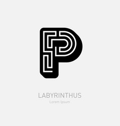 letter p - logotype concept or icon labyrinth or vector image