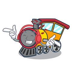 listening music train mascot cartoon style vector image