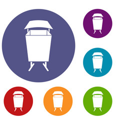 litter waste bin icons set vector image