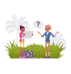 Lost tourists in a foreign country vector