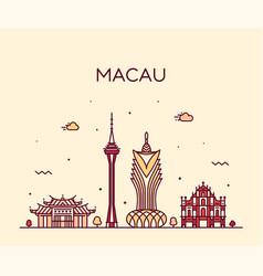 macau skyline peopl s republic china linear vector image