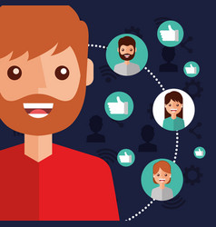 Man character viral content people connection vector