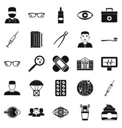 Medical student icons set simple style vector