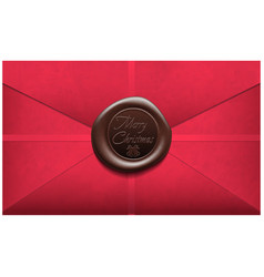 Merry christmas envelope with wax seal sealing vector