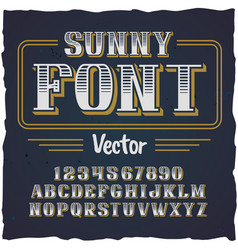 Original label typeface named sunny vector