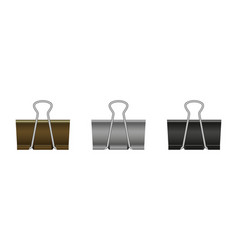 paper binder clip black metal clamp for office vector image