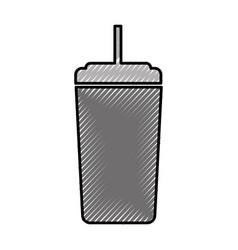 plastic cup with straw icon vector image