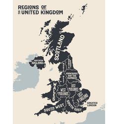 poster map regions united kingdom vector image