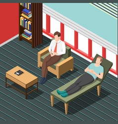 Psychotherapy counseling isometric background vector