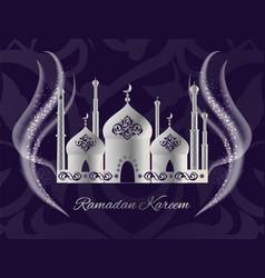Ramadan kareem postcard with mosque worship place vector