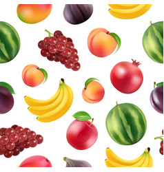 Realistic fruits and berries pattern vector