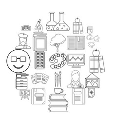 research icons set outline style vector image