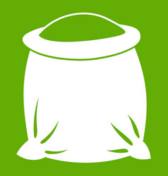 sack full of flour icon green vector image