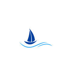 sailing boat ocean logo vector image