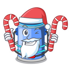 santa with candy bucket cylinder water in shape vector image