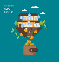 Savings with smart house flat vector