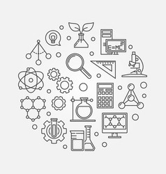 science concept round outline vector image