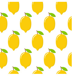 Seamless pattern with lemons on the white vector