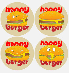set burger logo with different emotions happy vector image