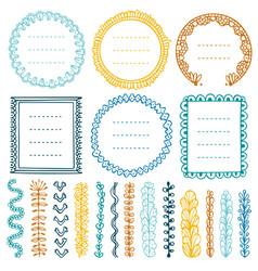 set doodle frames vignettes and dividers vector image