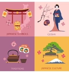 Set japan travel compositions with place vector