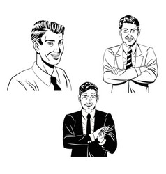 Set man comic style black and white vector