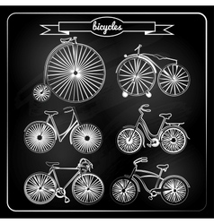 set of bicycles in vintage style vector image