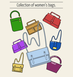 set of icons in a flat style women s bags vector image