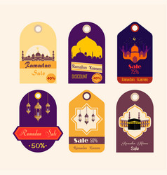 Set ramadan discount tags vector