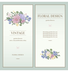 Set two invitations in vintage style vector