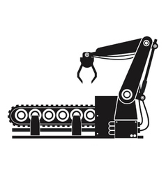 silhouette robotic production line manufacturing vector image