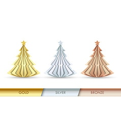 Simple golden silver and bronze Christmas trees vector