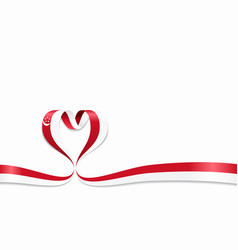 singapore flag heart-shaped ribbon vector image