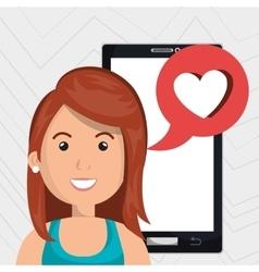 Smartphone woman speak friend vector